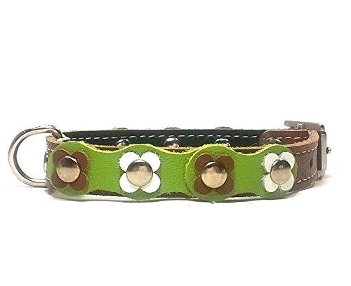 Superpipapo Hundehalsband Handmade, Handgemacht Design mit Blumen für Welpen, Kleine Hunde und Chihuahuas, Vintage Floral mit Braun Grün und Weiß Leder, 35 cm XS: Halsumfang 25-30 cm, Breit 14mm