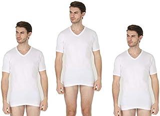 FE-GER 3 Pack Men's Undershirts Premium Stretch Underwear Crew Neck & V Neck Shirts Super Soft Short Sleeve Undershirts St...