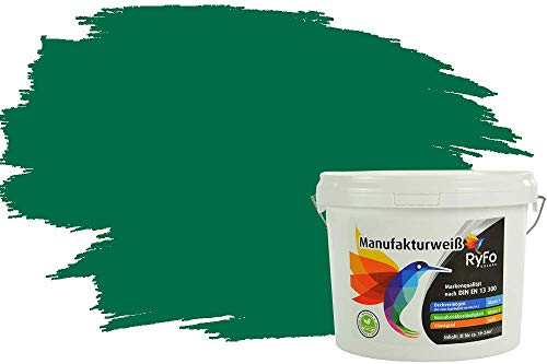 RyFo Colors Bunte Wandfarbe Manufakturweiß Smaragdgrün 3l - weitere Grün Farbtöne und Größen erhältlich, Deckkraft Klasse 1, Nassabrieb Klasse 1