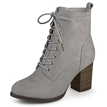 Journee Collection Womens Stacked Heel Lace-up Booties Grey 9 Regular US