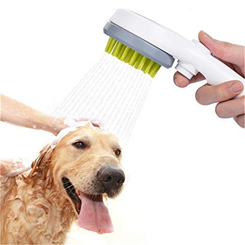 Esing Dog Shower Sprayer Head Attachment,Pet Combing Shower Sprayer,Water Sprinkler Massaging Brush for Dogs and Cats,Pet Grooming Bath Brush Bathing Tool (Grey)