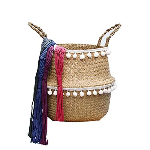 Szetosy - Cesta de junco para almacenamiento de Goodchance UK, con pompones. Cesta plegable tejida y con asa para ropa, juguetes, plantas o para usar en el cuarto del bebé, Estilo#5, 32x28cm