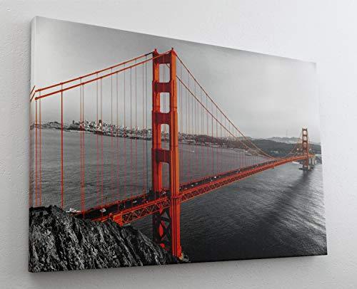 Golden Gate Bridge San Francisco Leinwand Bild Wandbild Kunstdruck L1403 Größe 70 cm x 50 cm