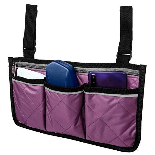 Bolsa lateral para silla de ruedas multifuncional, con múltiples bolsillos, bolsas de almacenamiento para silla de ruedas, para carrito de bebé(purple)