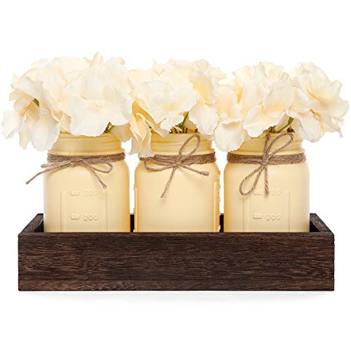 Mkono Mason Jar Centerpiece Decorative Wood Tray with 3 Painted Jars Artificial Flowers Rustic Country Farmhouse Home Decor for Herb Plants Coffee Table Dining Room Living Room Kitchen, Yellow