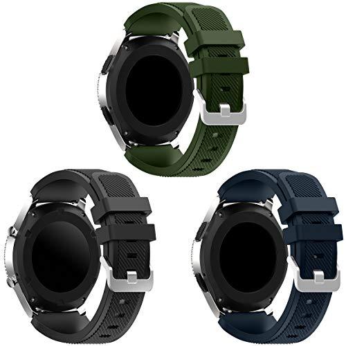 Syxinn Kompatibel mit Armband Gear S3 Frontier/Classic 22mm Ersatz Uhrenarmband Silikon Sportarmband for Galaxy Watch 46mm/Moto 360 2nd Gen 46mm (B-3 Stück)