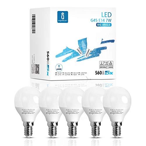 Lampadine LED E14 7W, Luce Bianca Fredda 6400K, 560 Lumen, Non Dimmerabile - Pacco da 5.
