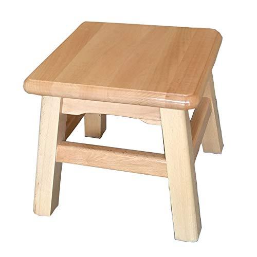 Massivholzhocker, quadratischer niedriger Hocker Schuhwechselhocker, nicht leicht zu verformen, geeignet für Küche, Wohnzimmer, Garten, mit dicker Anti-Rutsch-Matte/A / 30x30x27cm