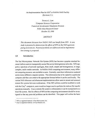 An Implementation Plan for NFS at NASA's NAS Facility (English Edition)