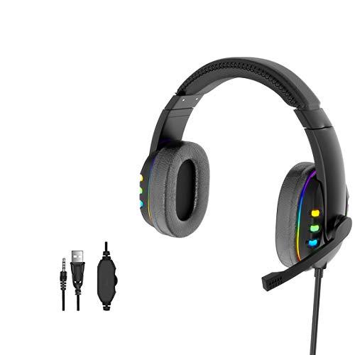 Auriculares para Juegos con micrófono, Auriculares estéreo envolventes con Graves sobre la Oreja para PS4 PS5 Xbox One PC portátil con micrófono con cancelación de Ruido/luz LED/USB/Conector