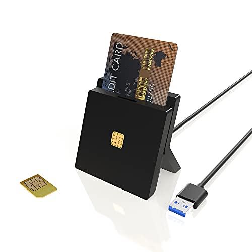 Personalausweis Kartenlesegerät, Smartcard Reader, Dual Slots USB Chipkartenlesegerät für DOD Military USB Common Access CAC/SIM/ID/IC Bank/Chip-Karte (E-Tax), Kompatibel mit Windows/Vista/Mac OS