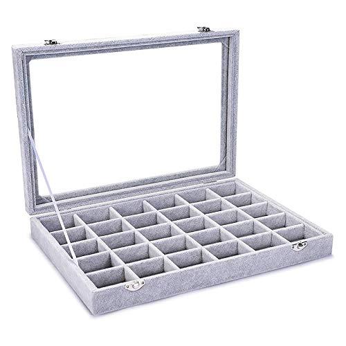 weichuang Caja de joyería Terciopelo 30 células del Anillo del Pendiente de Caja joyero Muestra apilada de la Cubierta Joyero