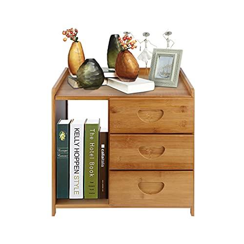Ejoyous Nachttisch mit 3 Schublade, Nachtschrank aus Holz Nachtschrank Kommode Moderner Nachttisch Multifunktional, Mini Bambus Nachttisch Beistelltische mit 3 Schubladen
