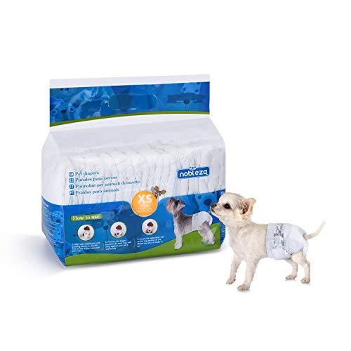 Nobleza Hund Windeln Einweg Männlich Weiblich Welpen Training Windeln Super Absorbent Pet Wraps 12 Pack Taille 30-18 cm, XS 1-3 kg