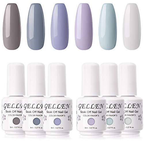 Gellen Gel Nail Polish Set - Neutral Grays Series Pastel Tone, Opaque 6 Nail Art Gel Colors Home Gel Nail Art Manicure Kit