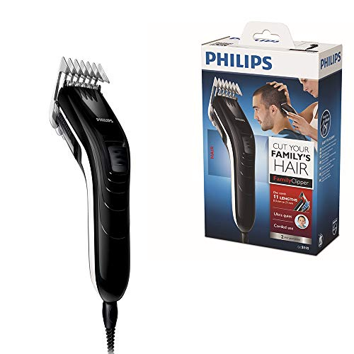 Philips Hair Clippers for Men, Ultra-Quiet Hair Clipper, Length Changing Dial with 11 Settings, Shelf-Sharpening Blades, Corded Use - QC5115/13