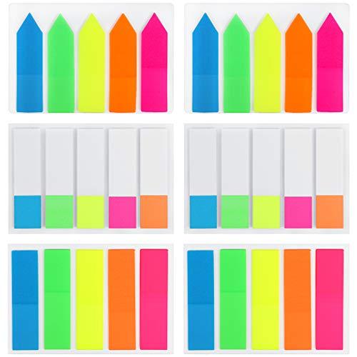 Fichas de índice, 600 piezas marcadores adhesivos página de notas fluorescentes translúcidas coloridas, rectángulo y con forma de flecha, marcadores de notas adhesivas