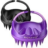 RONAVO - Cepillo masajeador para el cuero cabelludo, cerdas de silicona, cepillo de lavado manual del cabello para caspa, 2 unidades de limpiador de cabeza para todo tipo de cabello (morado y negro)