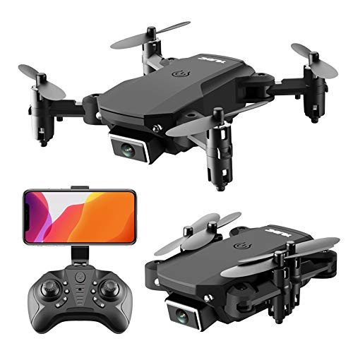 Mini Foldable Aerial Drones, WiFi Camera Drone with 4K HD Dual Camera, One Key Start and Stop, Gesture Control, Auto Hover, Headless Mode,Black,4K