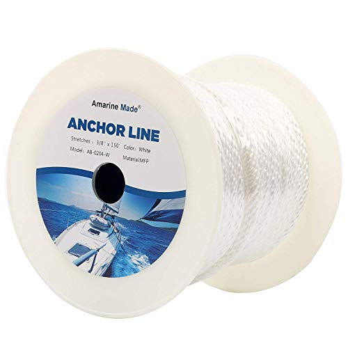 Amarine Made 3/8 Inch 50FT 100FT 150FT Premium Solid Braid MFP Anchor Line Braided Nylon Anchor Rope/Line