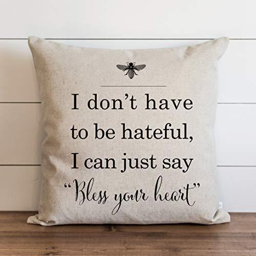 Say Bless Your Heart // 18 x 18 // Funda de almohada // Todos los días // Throw Pillow // Regalo // Acento almohada // Funda de cojín, almohada de vacaciones, decoración del hogar