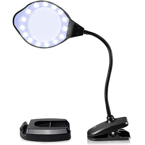 Joypea Magnifying Glass Lamp,2X-4X Magnifier LED Light with Clip and Flexible Neck,Magnifying Lamp...