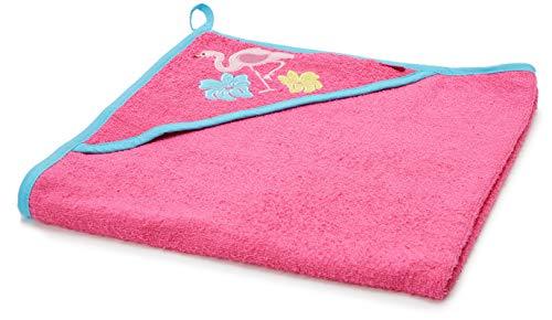 Playshoes Kapuzentuch Flamingo Accappatoio, Pink 18, 75x75cm Bimba