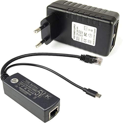 DSLRKIT Gigabit Raspberry Pi 3B+ 3B Plus Poe Kit (Gigabit Poe Injector+ Gigabit Micro USB 5V 2.4A Poe Splitter) for Raspberry Pi 3B+(3B Plus), Other Micro USB DC 5V Port Camera, Mobile Router