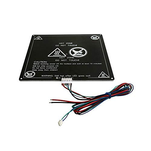 Two Trees Aluminum MK2 MK3 12V Heated Bed Hotbed Upgrade for Anet A8 A6 3D Printer, Black 220x220mm