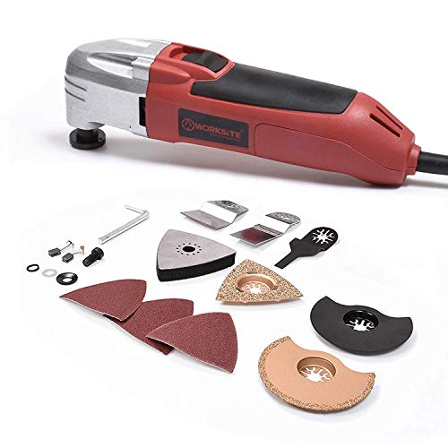 Learn More About WORKSITE DMT123 Oscillating Multi-Tool with Carbide Grout Blade, Half Moon Saw Blad...