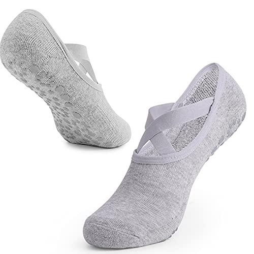 FDSVCSXV 3 Pares Antideslizante Yoga Pilates Calcetines Artes Marciales Fitness Baile Barre, Antideslizante Toe Toe Tokle Prevención de otoño Calcetines,Gris,One Size