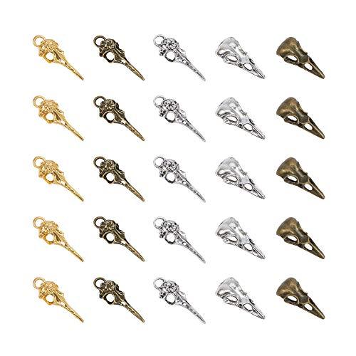 PandaHall Elite 50 Pcs Tibetan Style Alloy Phantom Raven Bird Skull Head Pendant Charms 5 Styles for Necklace Jewelry Making 3 Colors