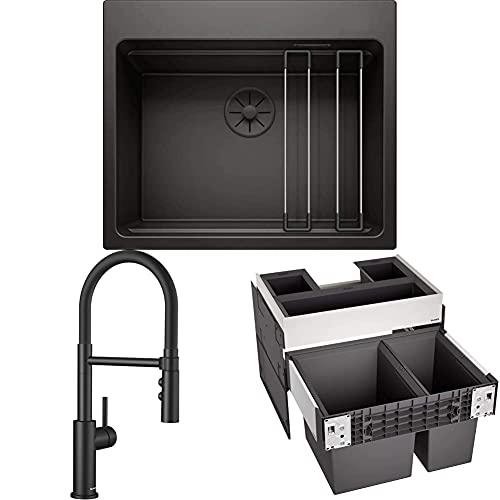 BLANCO Fregadero de cocina, color negro y Grifo de Cocina Semi-Profesional con Caño Flexible de Goma – Alta Presión y Chorro Doble – Negro Mate y Sistema de Basura, Color Negro
