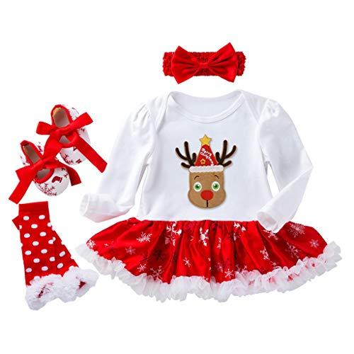 Pasgeboren Baby Meisjes Kerst Prinses Jurken Outfits Kinderen Xmas Lange Mouwen Partytutu Kostuum Romper Jumpsuit Rok Hoofdband Schoenen Sokken Outfits 4 Stks Outfits Set 0-18 Maanden