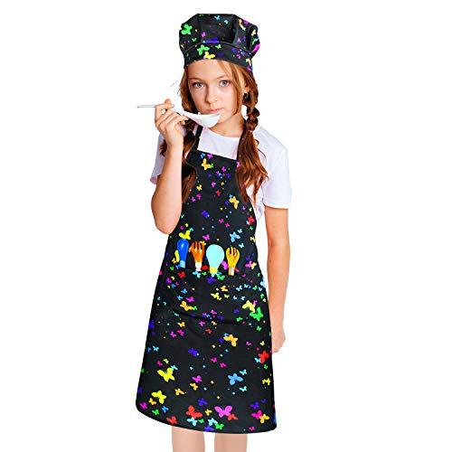 CicRuii - Set di grembiuli da chef per bambini, con cinghia regolabile per il collo, per la casa, la cucina, la pittura, il giardinaggio e la cucina