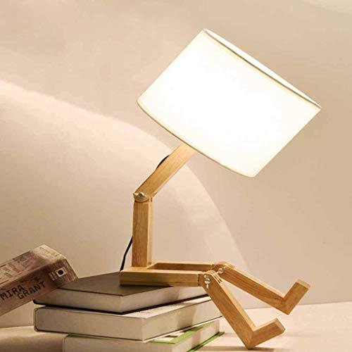 Lámpara de mesa luminosa decorativa de madera con interruptor, creativa robot desk Lamp, lámpara de cama, los niños, lámpara de mesilla ajustable puede poner libros, tela de pantalla E27