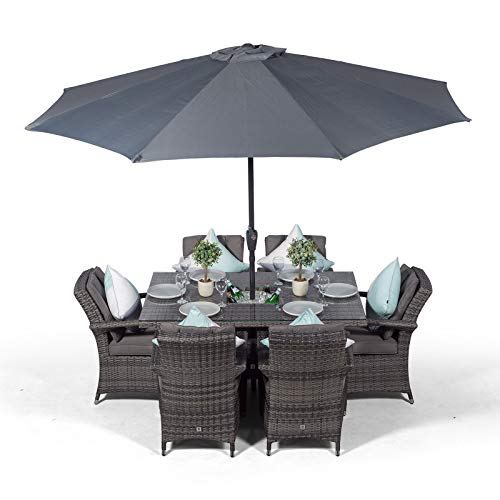 Arizona Rattan Dining Set Rectangle 6 Seater Grey Rattan Table & Chairs Set with Ice Bucket Drinks Cooler | Outdoor Poly Rattan Garden Dining Furniture Set with Parasol & Cover
