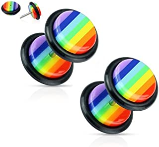 Rainbow Striped Gay Pride Fake Cheater Plugs Earrings - 16g - Pair