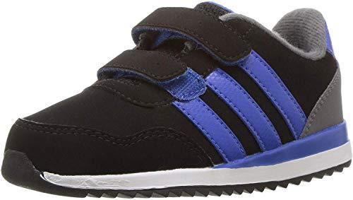 adidas Boys' V Jog CMF INF Sneaker, Black/Blue/Grey Four, 3 Medium US Toddler