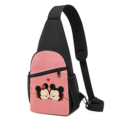 WILHJGH Mochila Sling Casual Cute Minnie Mouse Crossbody Daypack Bolso de Hombro Bolso de Pecho Mochila