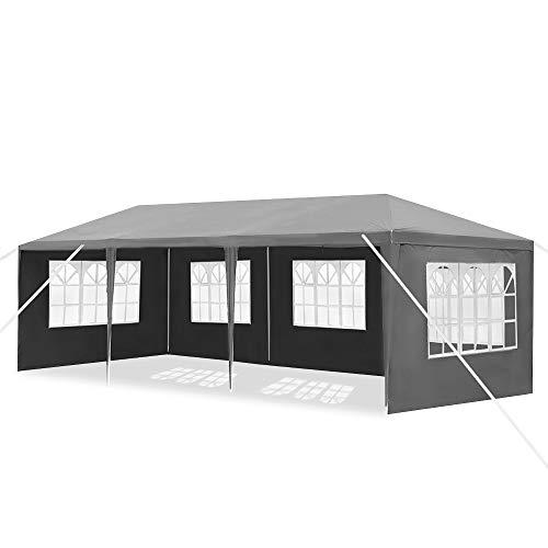 Waterproof Gazebo 3 x 4 m Blue Folding Gazebo with 4 Side Walls Garden Gazebo Folding Tent Polyethylene Beer Tent Door with Zip for Garden Party Wedding Picnic Market
