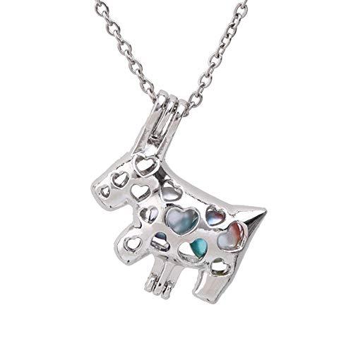 YUNGYE Pendant 1pc Lindo del Amor del corazón Jaulas Vaca Collar de Perlas de joyería de Acero Inoxidable Collar de Perlas de Aroma de aceites Esenciales Medallones Difusor (Color : 50cm(20 Inch))