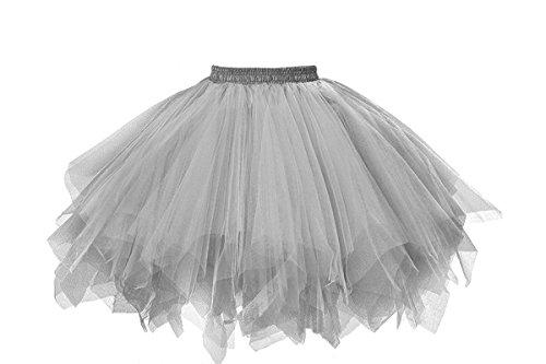 MuseverBrand 50er Vintage Ballet Blase Firt Tulle Petticoat Puffy Tutu Silver Small/Medium
