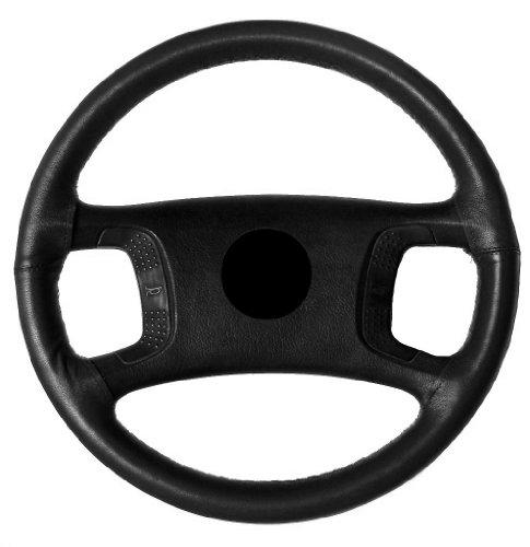AERZETIX: Cubre Volante en Cuero Piel Genuina. con Aguja e Hilo. Tamano M. para diametro 37-40 cm. Cuero: Color Negro. Hilo: Color Negro.