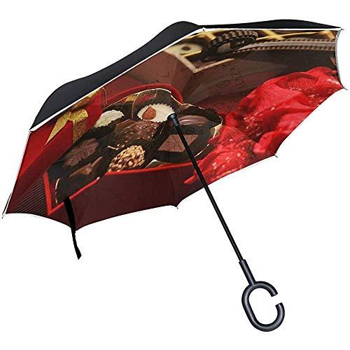 Omgekeerde paraplu Valentijnsdag chocolade aangepast omgekeerde paraplu omkeerbaar voor Golf auto reizen regen buiten zwart