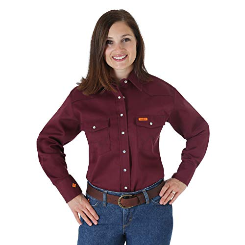 Wrangler Riggs Workwear womens Fr Flame Resistant Western Long Sleeve Snap Work Utility...