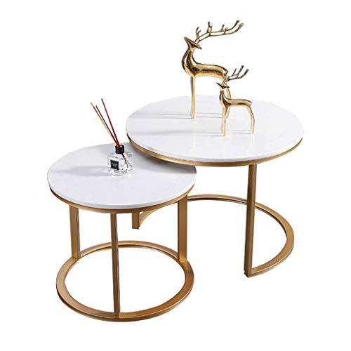FZH koffietafel, rond, set van marmer van rond, met stalen onderstel voor woonkamer en kantoor