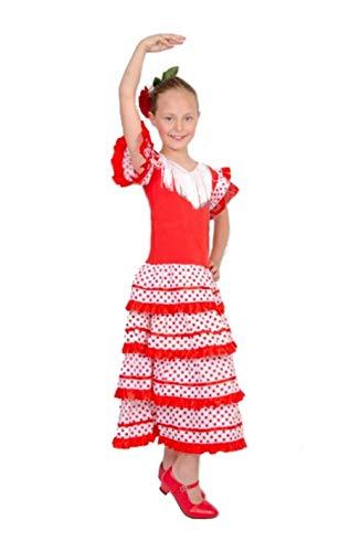 ANUKA Vestido Infantil para la Danza Flamenco o sevillanas (Rojo/Blanco, 6/7 años)