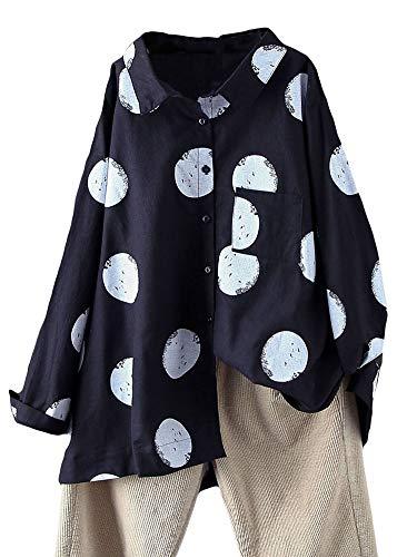 FTCayanz Damen Bluse Langarm Shirts Polka-Dots Locker Hemd Freizeit Oberteil Schwarz XL