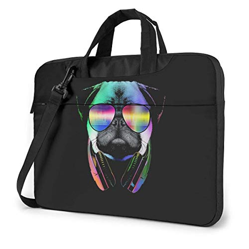 Dj Pug Laptop Shoulder Messenger Bag, Laptop Sleeve Case with Strap 15.6 Inch